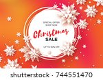 3d merry christmas big sale for ... | Shutterstock .eps vector #744551470