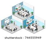business meeting in an office... | Shutterstock .eps vector #744555949