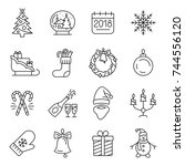 new year icons. christmas party ... | Shutterstock .eps vector #744556120