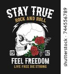 rock and roll graphic design... | Shutterstock .eps vector #744556789