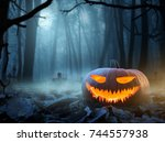 halloween background  close up... | Shutterstock . vector #744557938