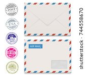 envelopes and grunge post... | Shutterstock .eps vector #744558670