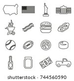 usa icons thin line vector... | Shutterstock .eps vector #744560590