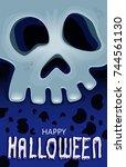 halloween face skull poster... | Shutterstock .eps vector #744561130