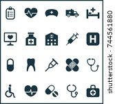 antibiotic icons set.... | Shutterstock .eps vector #744561880