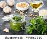 homemade parsley pesto sauce... | Shutterstock . vector #744561910
