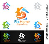 real estate logo  fix home... | Shutterstock .eps vector #744563860