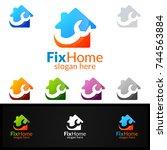 real estate logo  fix home... | Shutterstock .eps vector #744563884