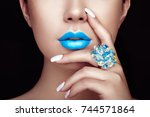 beauty fashion woman lips with... | Shutterstock . vector #744571864