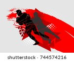 silhouettes of athletes  rugby...   Shutterstock .eps vector #744574216