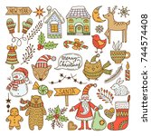 a large set of christmas... | Shutterstock .eps vector #744574408