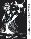 orca hunting gannet in black... | Shutterstock .eps vector #744576934