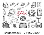 pet shop and veterinary set. ... | Shutterstock .eps vector #744579520