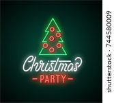 christmas party neon text.... | Shutterstock .eps vector #744580009