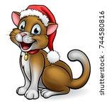 a pet cat cartoon character... | Shutterstock .eps vector #744580816