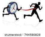 a man racing against a clock... | Shutterstock .eps vector #744580828