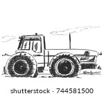 vector hand drawn tractor... | Shutterstock .eps vector #744581500