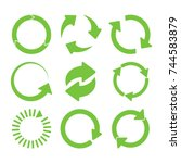 green round recycle icons set   ... | Shutterstock .eps vector #744583879