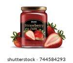 strawberry jam package design ... | Shutterstock .eps vector #744584293