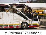 bus crashed into a wall. broken ... | Shutterstock . vector #744585553