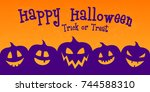 scary banner for halloween with ... | Shutterstock .eps vector #744588310