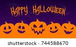 scary banner for halloween with ... | Shutterstock .eps vector #744588670