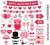 valentine s day vector design... | Shutterstock .eps vector #744589084