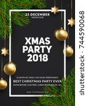christmas party poster design.... | Shutterstock .eps vector #744590068