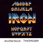 alphabet 80's retro font.vector ... | Shutterstock .eps vector #744590389