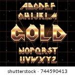 alphabet 80's retro font.vector ... | Shutterstock .eps vector #744590413