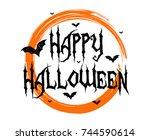 happy halloween text banner  ...   Shutterstock .eps vector #744590614