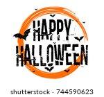 happy halloween text banner  ...   Shutterstock .eps vector #744590623