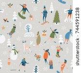 christmas seamless vector...   Shutterstock .eps vector #744591238