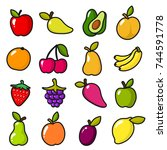 collection of fruits in cartoon ... | Shutterstock .eps vector #744591778