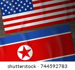 usa and north korea flag on... | Shutterstock .eps vector #744592783