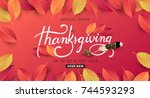 calligraphy of thanksgiving day ... | Shutterstock .eps vector #744593293