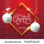 merry christmas sale background ... | Shutterstock .eps vector #744593629