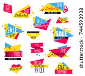 flat design sale badges and... | Shutterstock .eps vector #744593938