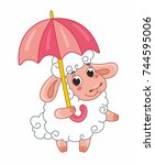 cute cartoon vector sheep with... | Shutterstock .eps vector #744595006