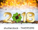 happy new years eve silvester... | Shutterstock . vector #744595390