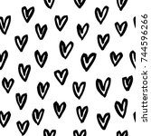 hand drawn seamless pattern... | Shutterstock .eps vector #744596266