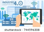 smart industry 4.0  automation... | Shutterstock .eps vector #744596308