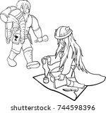 two vector black contours of... | Shutterstock .eps vector #744598396