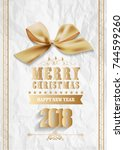 happy new year 2018 greeting... | Shutterstock . vector #744599260
