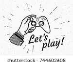 lets play game console retro... | Shutterstock .eps vector #744602608