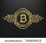 bitcoin  abstract golden symbol ... | Shutterstock .eps vector #744604423