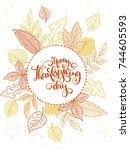 vector thanksgiving greeting... | Shutterstock .eps vector #744605593