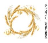 wreath made of wheat  barley ... | Shutterstock .eps vector #744607270
