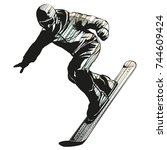 falling snowboarder | Shutterstock .eps vector #744609424