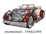 vintage car | Shutterstock .eps vector #744611494